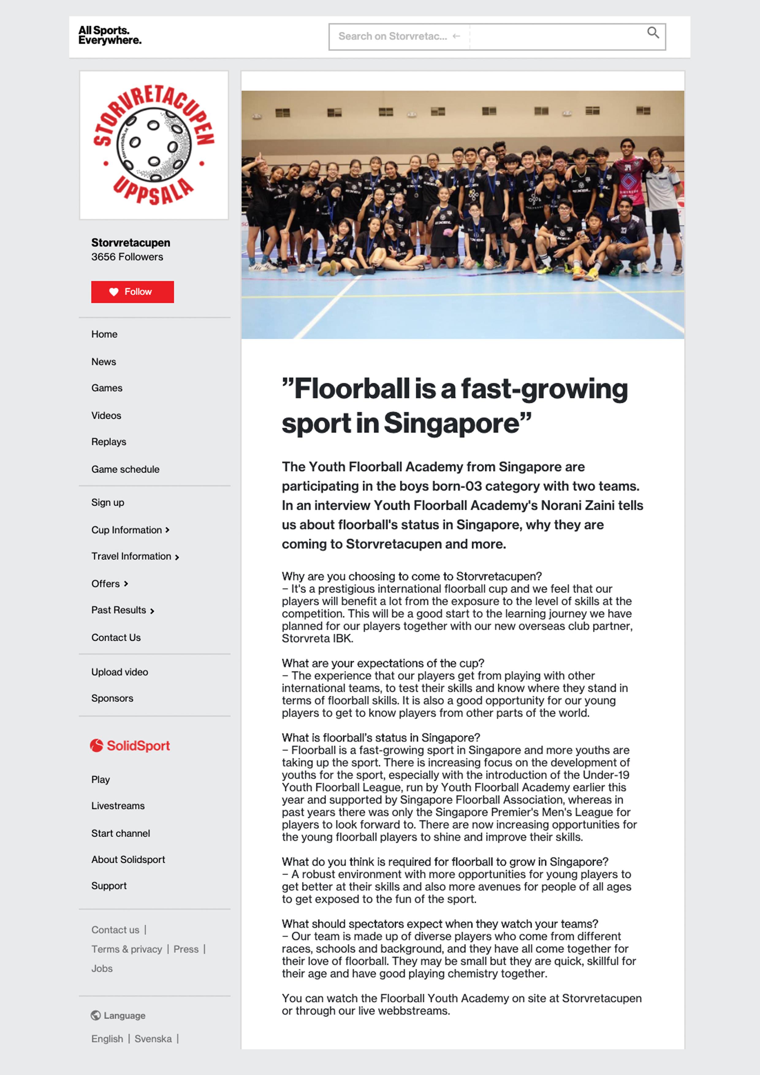 SolidSport feature Storvretacupen2019 December2019